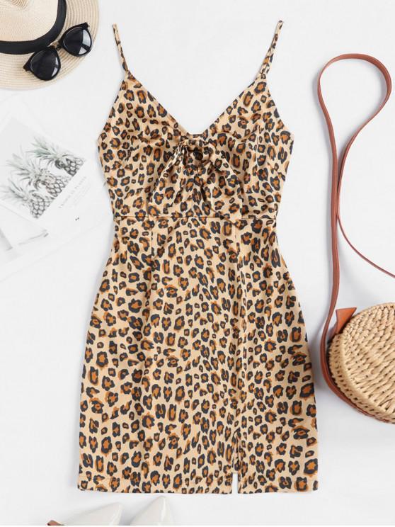 shop ZAFUL Leopard Slit Tie Front Cami Mini Dress - MULTI XL
