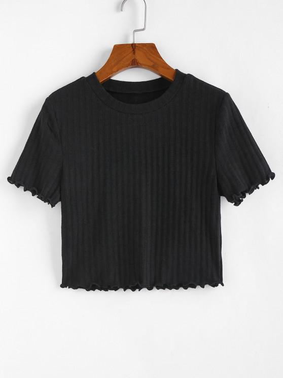 new ZAFUL Ribbed Lettuce Trim Crop T-shirt - BLACK S