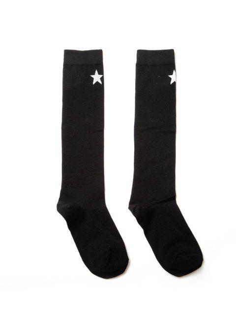 Спортивные Носки Принт звезды Длина до колена - Чёрный  Mobile