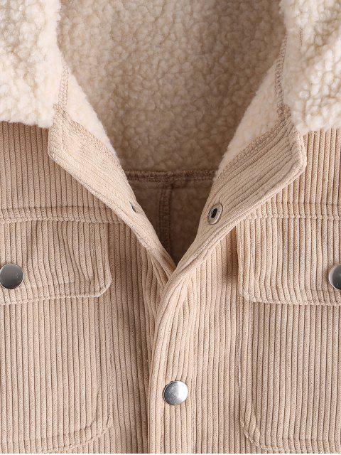 unique Solid Color Multi-pocket Decoration Fluffy Jacket - LIGHT KHAKI M Mobile