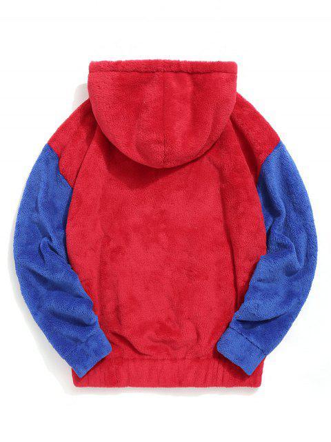 顏色阻斷囊袋狀蓬鬆夾克 - 紅 XL Mobile