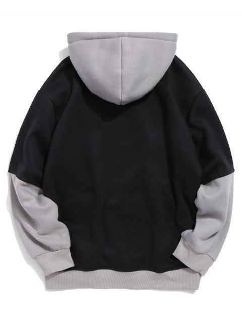 信Colorblock打印口袋連帽衫 - 黑色 L Mobile