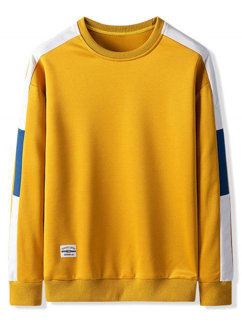 撞色拼色休閒運動衫 - 蜜蜂黃色 L Mobile