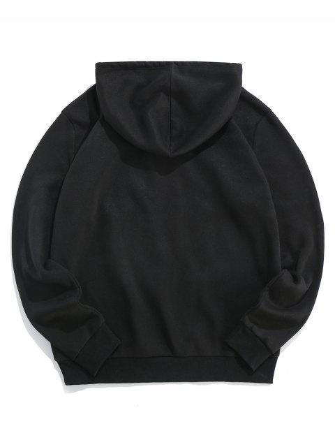 ZAFUL圖形文字打印休閒連帽外套 - 黑色 XL Mobile