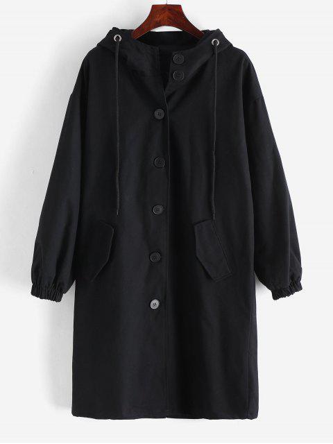 Manteau à Capuche Droit à Simple Boutonnage avec Poche - Noir M Mobile