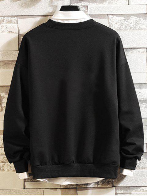 字符印製信休閒運動衫 - 黑色 2XL Mobile