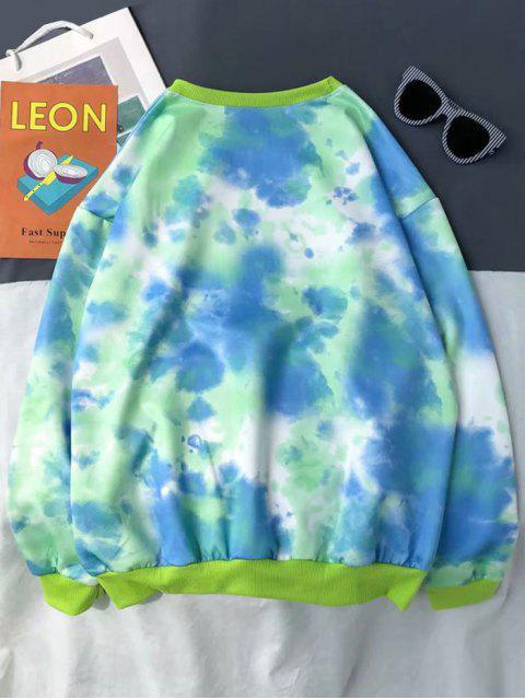 紮染打印套頭衫休閒運動衫 - 綠色 2XL Mobile