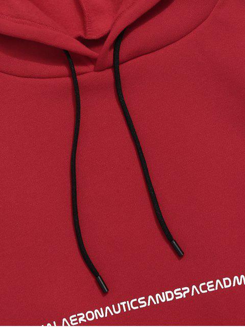 圖形圖案顏色拼接口袋連帽衫 - 紅 L Mobile