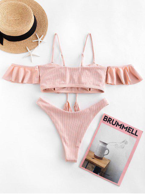 outfits ZAFUL Ribbed Tassel Lace Up High Cut Bikini Swimsuit - ROSE M Mobile