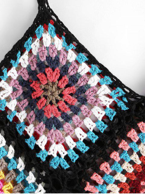 Bunte Crochet Panel-Strand-Kleid - Schwarz Eine Größe Mobile