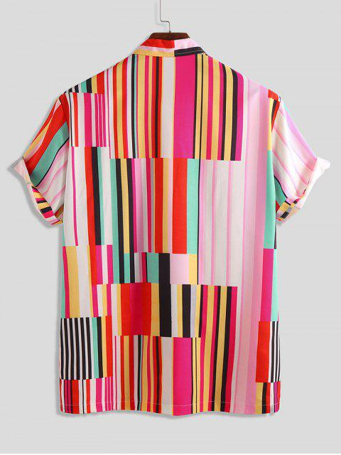 outfits Striped Print Short Sleeve Button Shirt - MULTI 2XL Mobile