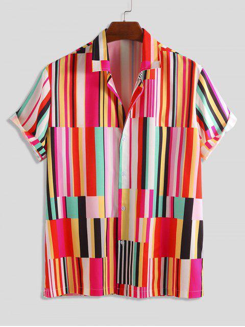 Camisa Rayada Estampado Botón - Multicolor M Mobile