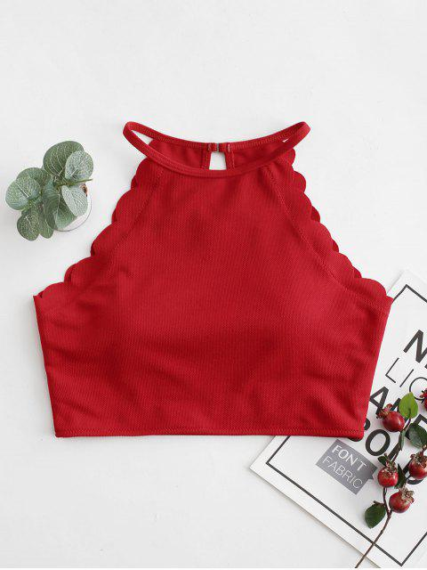 ZAFUL Top de Biquíni Texturizados Scalloped Barriga - Lava Vermelha XL Mobile
