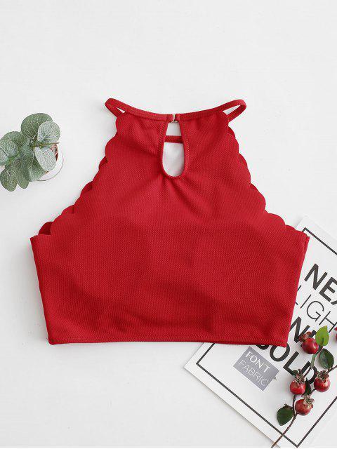 buy ZAFUL Scalloped Textured Cropped Bikini Top - LAVA RED S Mobile