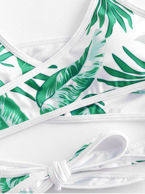 trendy ZAFUL Leaf Print Wrap Halter Three Piece Bikini Swimsuit - WHITE M Mobile