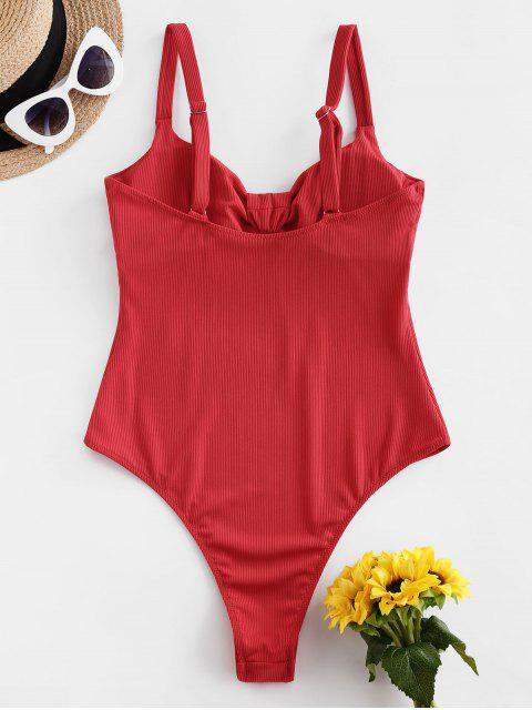 new ZAFUL High Cut Ribbed One-piece Swimsuit - RED S Mobile