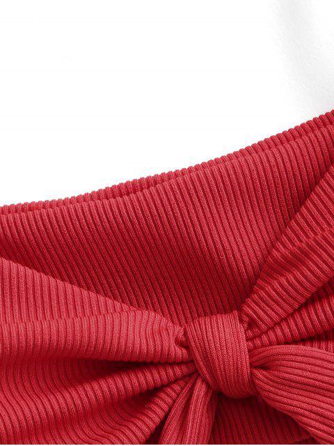 ZAFUL Biquíni Atado com Nervuras - Vermelho S Mobile