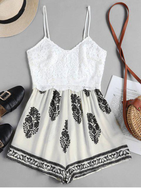 fancy ZAFUL Leaves Print Lace Panel Cami Romper - WARM WHITE XL Mobile