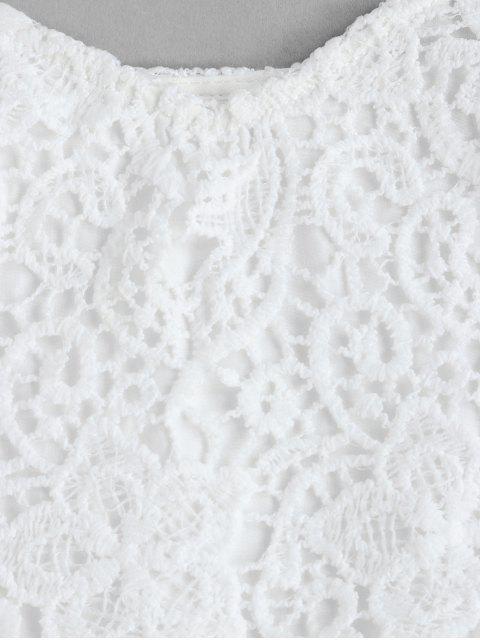 ZAFUL Blattdruck Camisole mit Spitzeneinsatz - Warmweiß S Mobile
