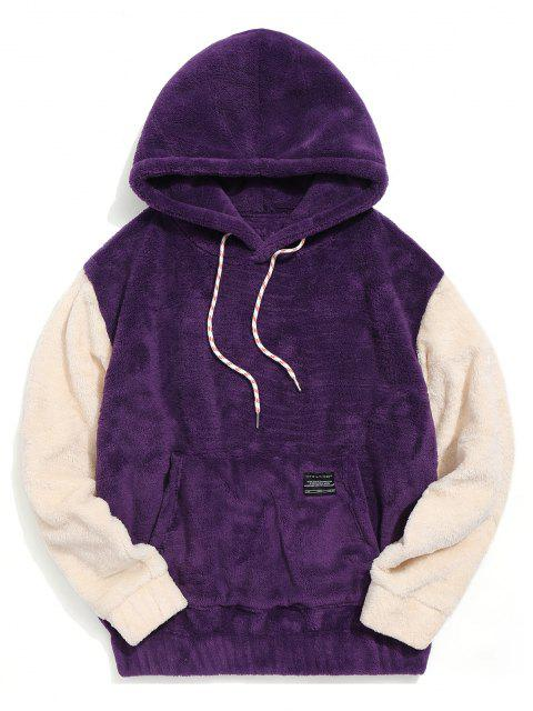 chic Color-blocking Pouch Pocket Fluffy Hoodie - PURPLE L Mobile