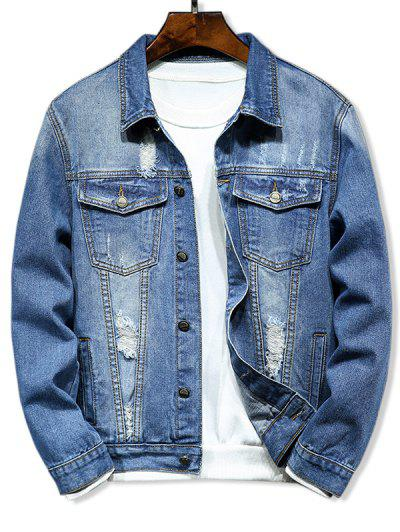 Ripped Pocket Design Denim Jacket - Denim Blue Xs