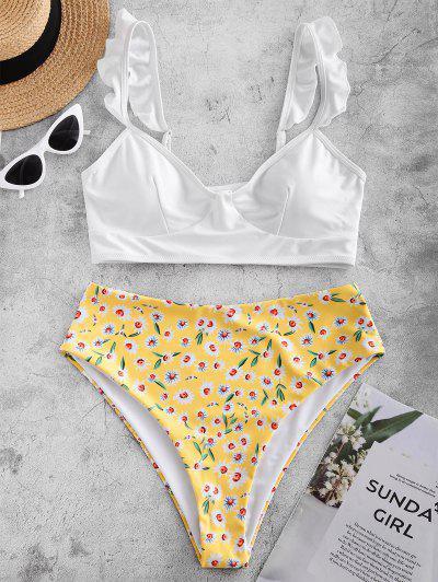 ZAFUL Daisy Print Frilled Reversible Tankini Swimsuit