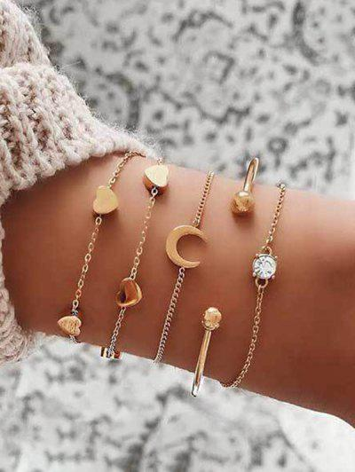 5 Piece Heart Moon Chain Bracelets Set - Gold