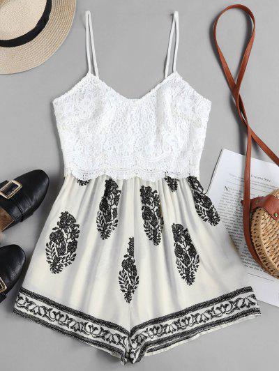 ZAFUL Leaves Print Lace Panel Cami Romper - Warm White S