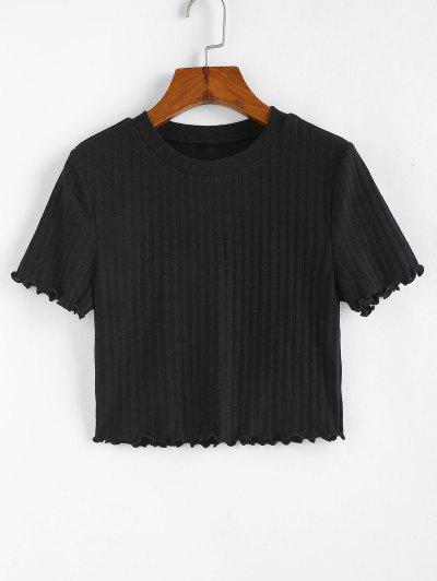 ZAFUL Ribbed Lettuce Trim Crop T-shirt - Black L