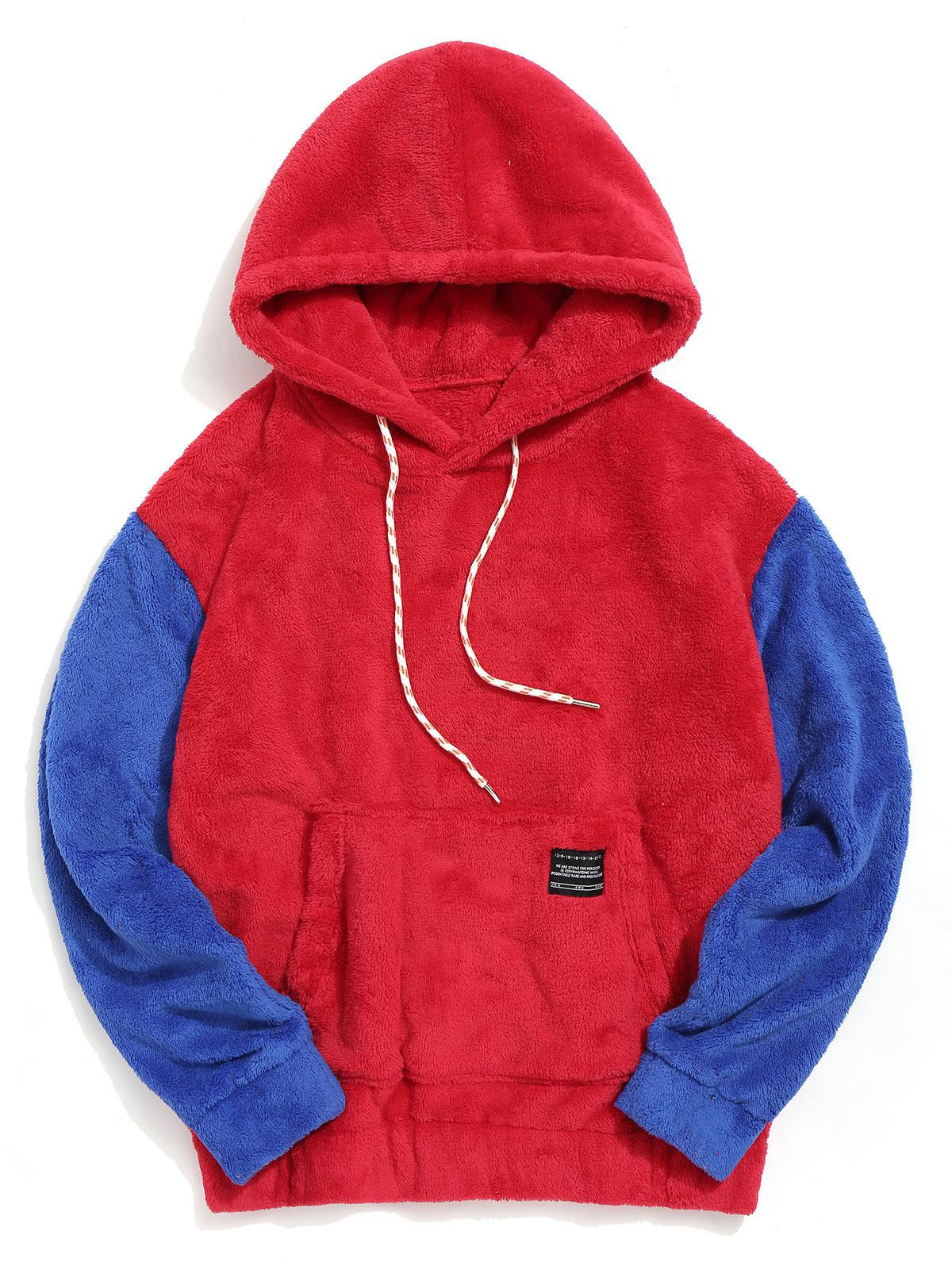 Color-blocking Pouch Pocket Fluffy Hoodie фото