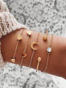 5 قطعة القلب القمر سلسلة أساور مجموعة - ذهب