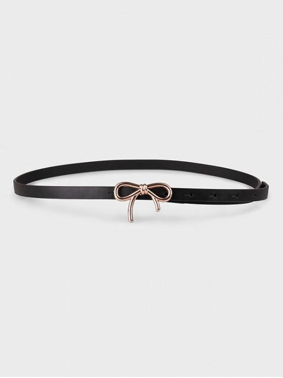 shop Metallic Bowknot Buckle Dress Belt - BLACK