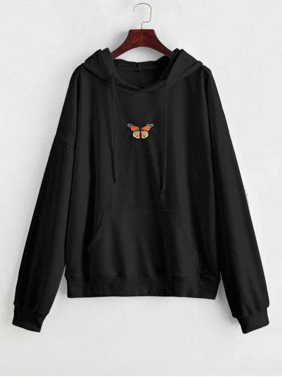 chic Butterfly Embroidered Front Pocket Drawstring Hoodie - BLACK L