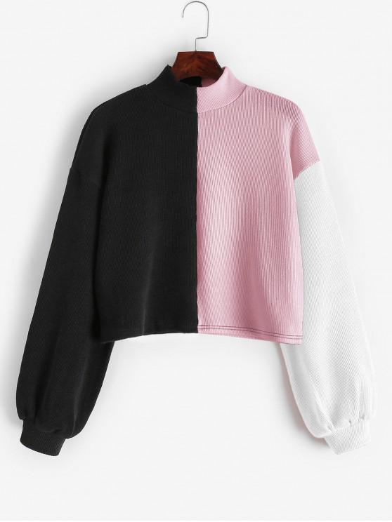 latest ZAFUL Colorblock Drop Shoulder Mock Neck Sweatshirt - MULTI-B L
