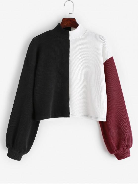 chic ZAFUL Colorblock Drop Shoulder Mock Neck Sweatshirt - MULTI-C L