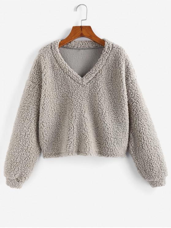 lady ZAFUL Drop Shoulder V Neck Teddy Sweatshirt - GRAY CLOUD XL