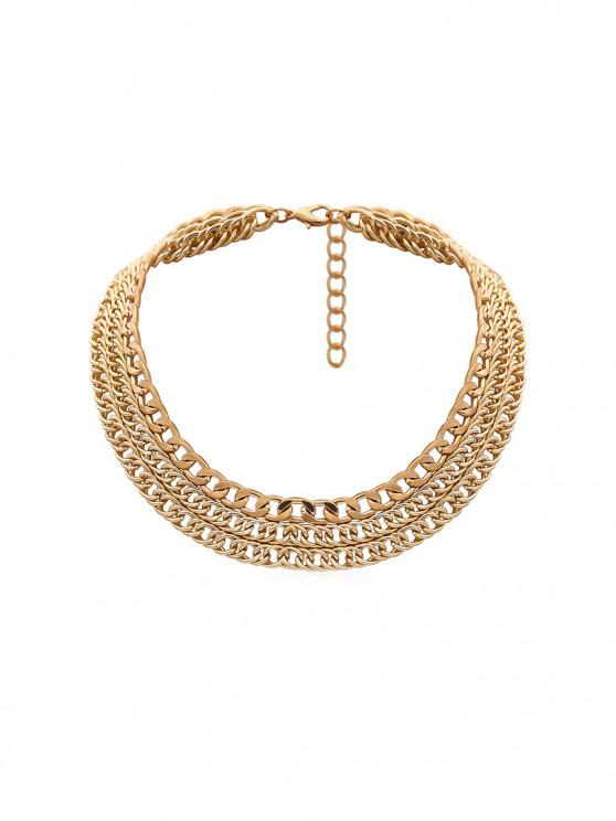 ladies Simple Multilayered Chain Necklace - GOLD