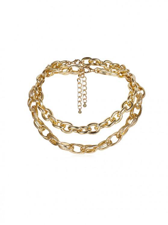 Collar estilo de la calle Cadena doble capa - Oro
