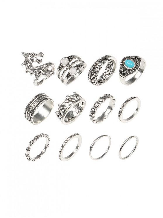 online 12 Piece Dragon Floral Faux Turquoise Finger Rings Set - SILVER