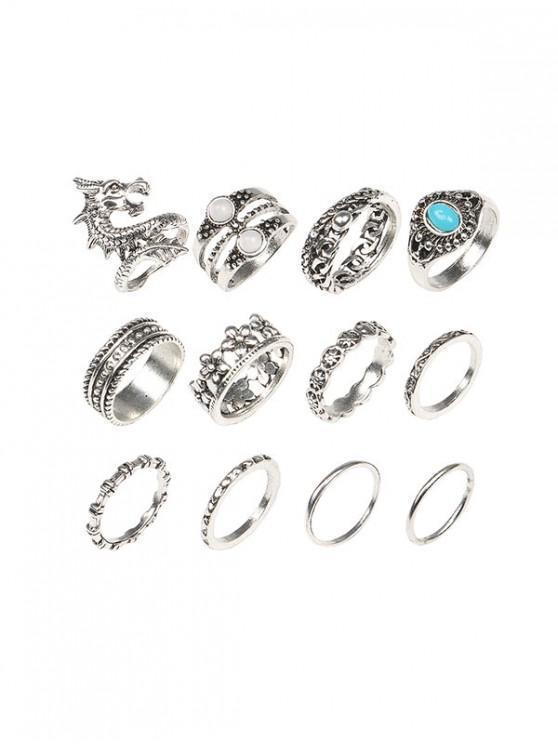 12 Stück Drachen Blumen Künstliche Türkis Fingerringe Set - Silber