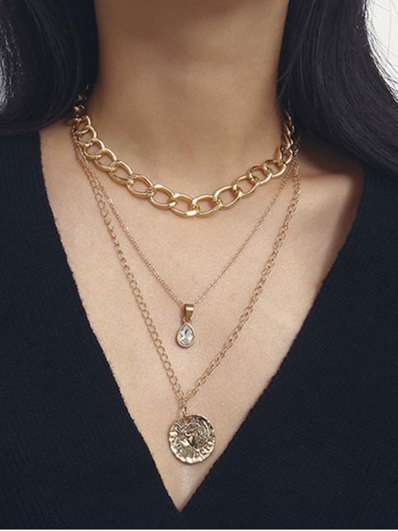 shop Crinkle Disc Teardrop Pendant Multilayered Chain Necklace - GOLD