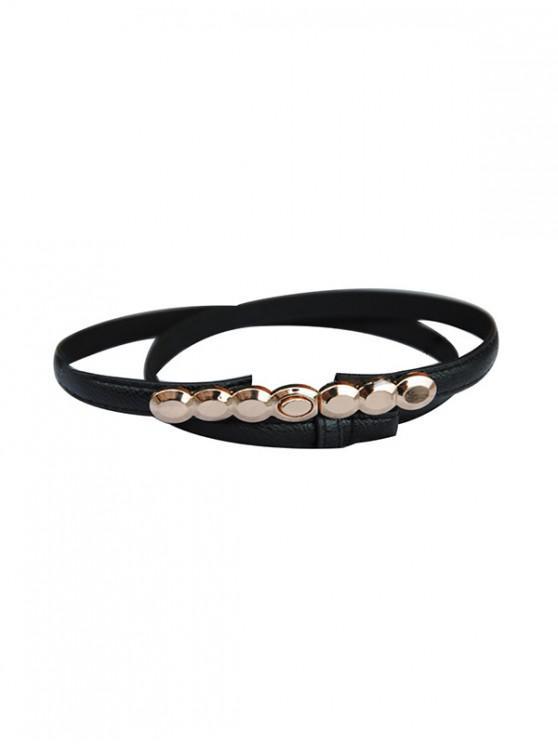 fashion Round Metal Buckle Dress Belt - BLACK