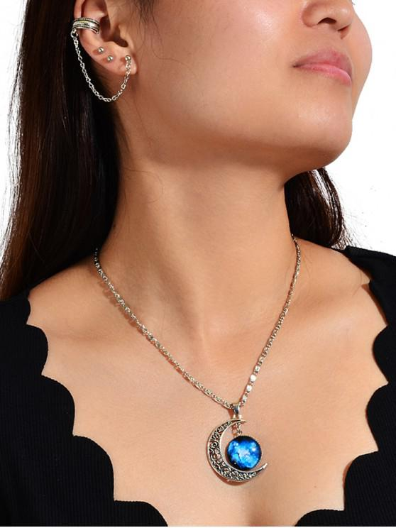 chic Ear Cuff Stud Earring And Moon Pendant Necklace Set - BLUE