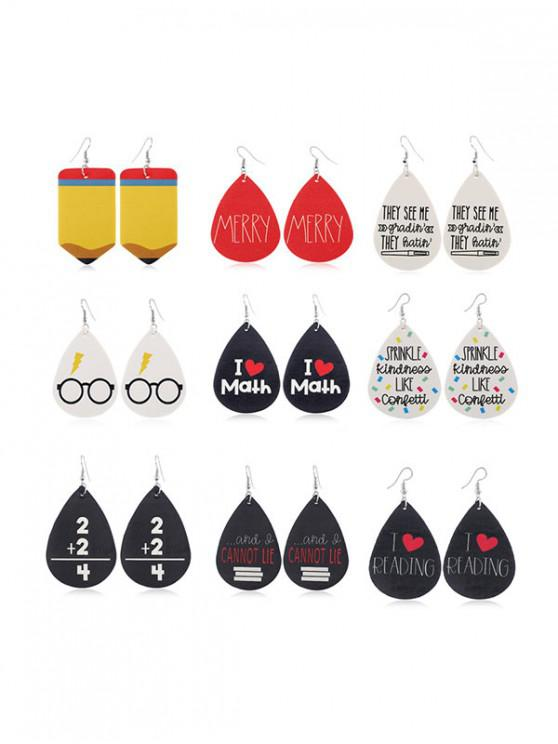 fancy 9Pairs Water Drop Letter Earrings Set - MULTI