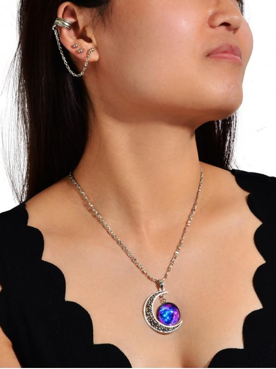 affordable Ear Cuff Stud Earring And Moon Pendant Necklace Set - PURPLE AMETHYST
