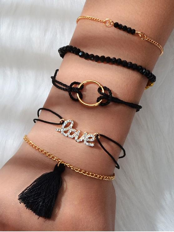 buy 5 Piece Fringe Letter Beaded Rope Bracelets Set - BLACK