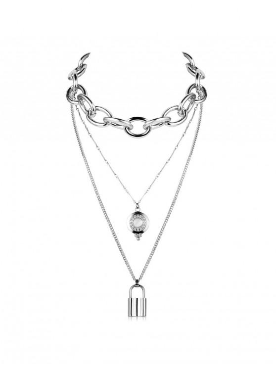 womens Punk Key Lock Pendant Multilayered Chain Necklace - SILVER