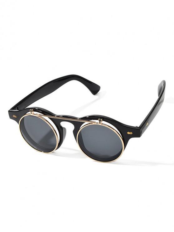 ladies Round Anti UV Flip Sunglasses - BLACK