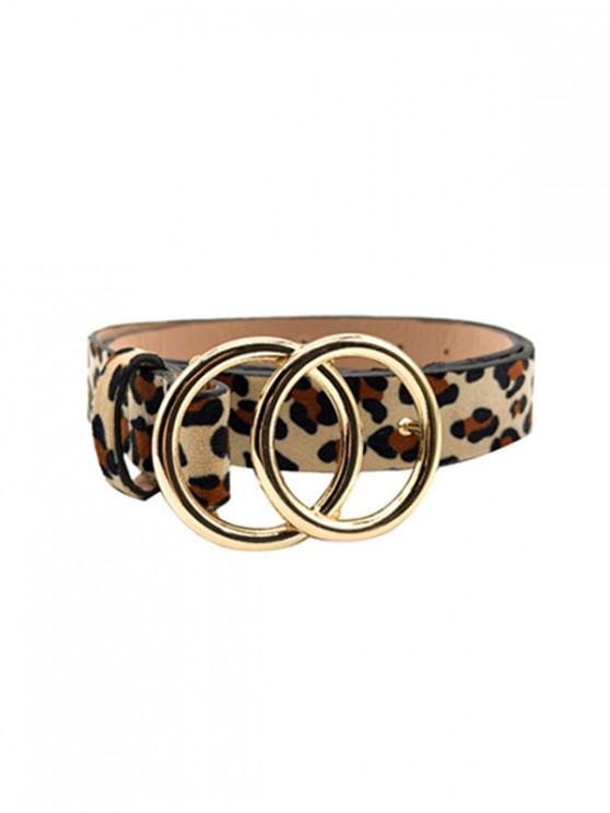 hot Leopard Hollow Circle Buckle Belt - LEOPARD