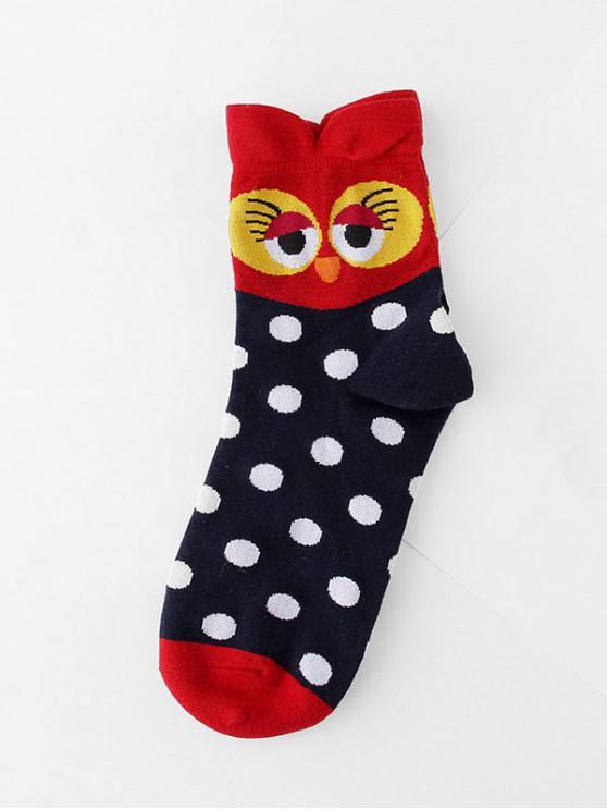outfit Winter Owl Cartoon Quarter Socks - CADETBLUE